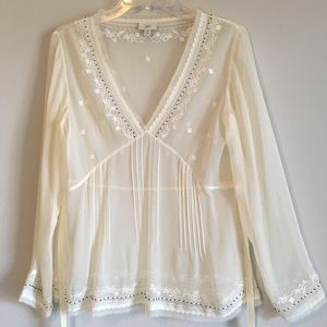 J Jill Silk Bead Embroidered Lace Floral Top Shirt